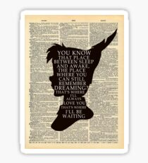 Peter Pan Over Vintage Dictionary Page - That Place Sticker