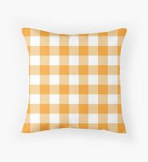 Orange / Vivid Orange Peel Plaid Pattern Throw Pillow