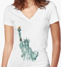 Tattoo Lady Liberty Women's Fitted V-Neck T-Shirt