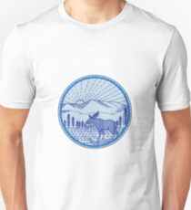 Camiseta ajustada Moose River Flat Mountains Sunburst Circle Mono Line