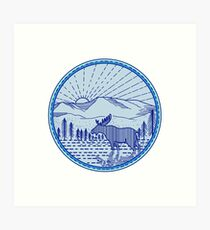 Moose River Flat Mountains Sunburst Circle Mono Line Art Print