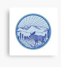 Moose River Flat Mountains Sunburst Circle Mono Line Canvas Print