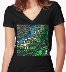 Abstract Blocks of Color Women's Fitted V-Neck T-Shirt