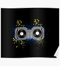 DJ Turntables Blue and Yellow Poster