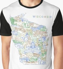 "Wisconsin Landmark Collage Art ""Earth"" Graphic T-Shirt"