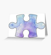 Water color puzzle piece  Greeting Card
