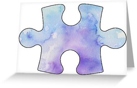 Quot Water Color Puzzle Piece Quot Greeting Card By Brockam1