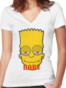 BART FACE TRIPING Women's Fitted V-Neck T-Shirt