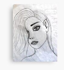 face portrait drawing grey 03/22/17 Canvas Print