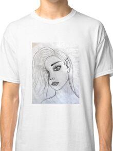 face portrait drawing grey 03/22/17 Classic T-Shirt