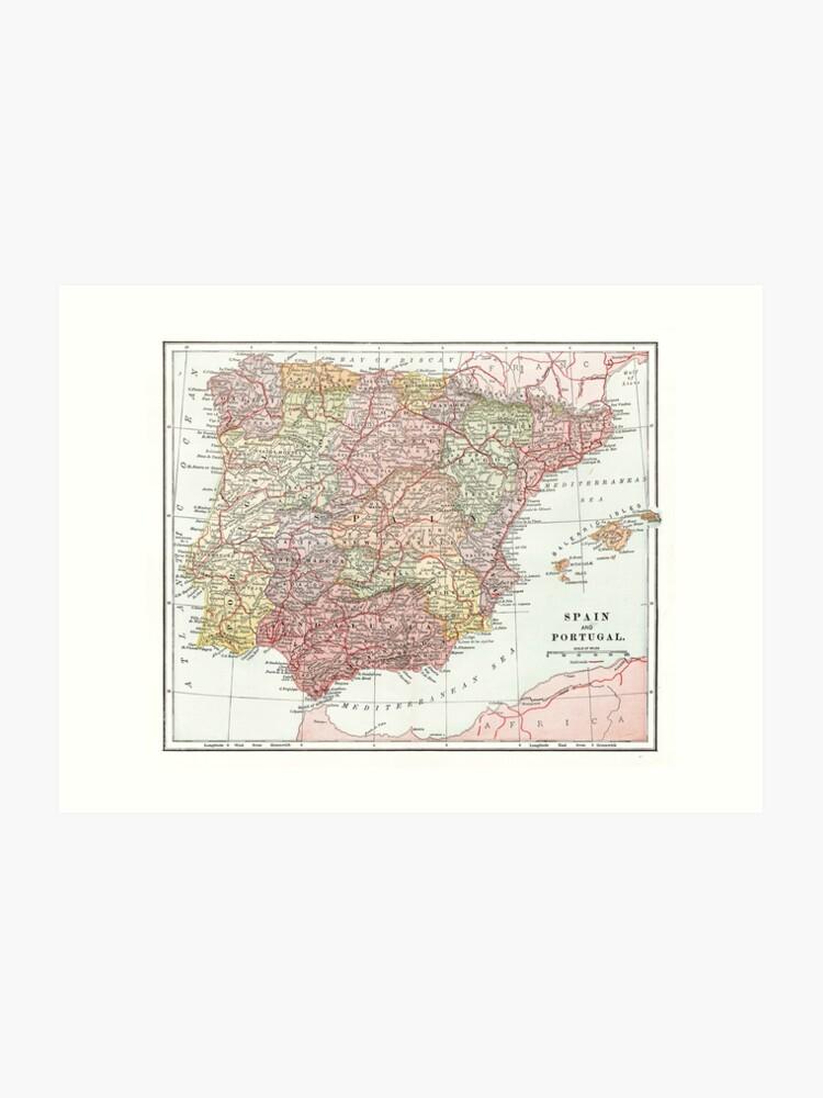 Map Of Spain For Printing.Vintage Map Of Spain Art Print