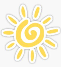 Mustard Yellow Spiral Sun Sticker