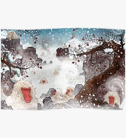 Soaking Japanese Snow Monkeys Poster