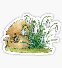 Mushroom fairy house with snowdrops Sticker