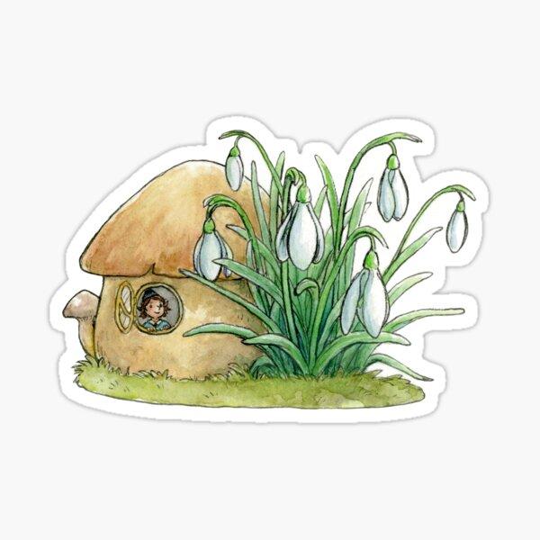 Mushroom fairy house with snowdrops Sticker