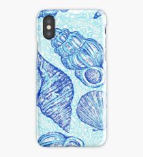 Blue Sketched Seashells iPhone Case/Skin