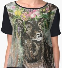 Flower crown deer Chiffon Top