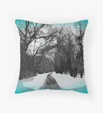Out For a Walk - Winter Scene Throw Pillow