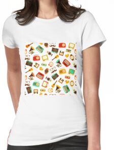 Retro Pattern Womens Fitted T-Shirt