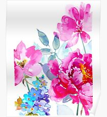Watercolor Peony and Wildflowers Poster