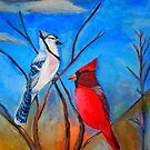 Cardinal and Bluejay by Ljartdesigns