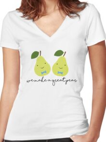 We Make a Great Pear (Boy x Boy) Women's Fitted V-Neck T-Shirt