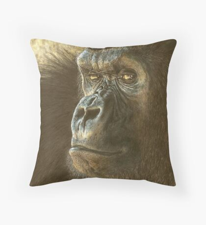 Gorilla in color pencil Throw Pillow