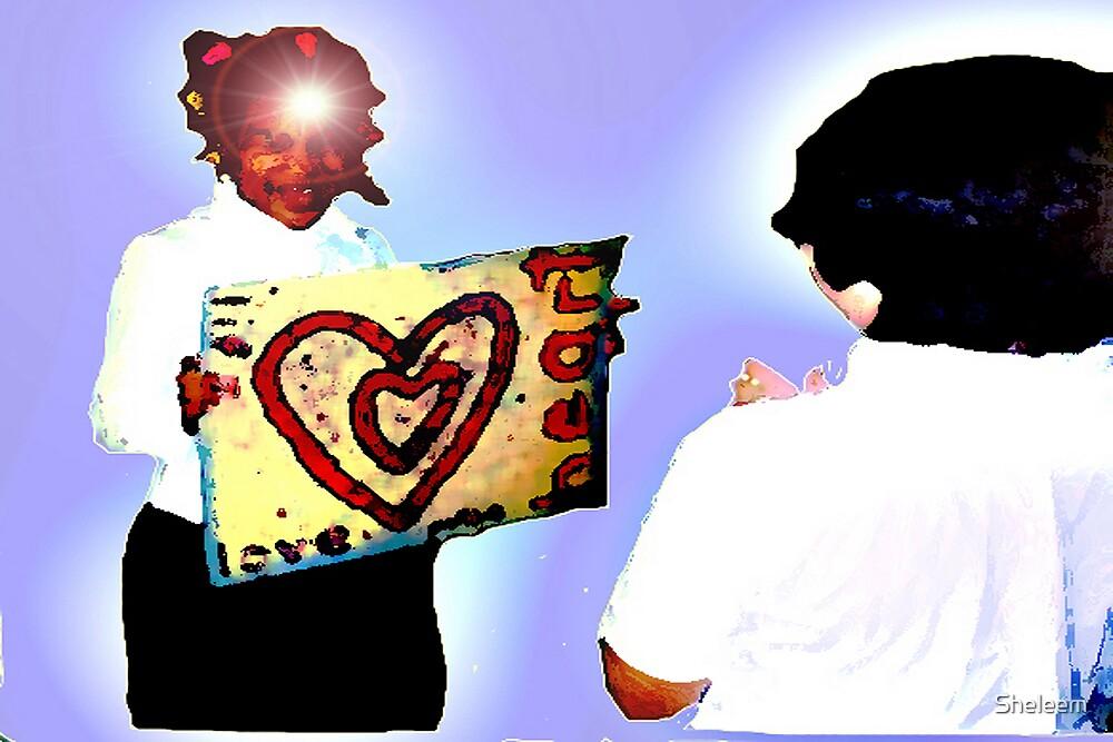 Girl Holding Love Sign by Sheleem