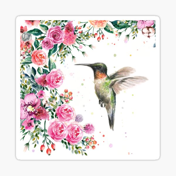 Hummingbird and Flowers Watercolor Sticker