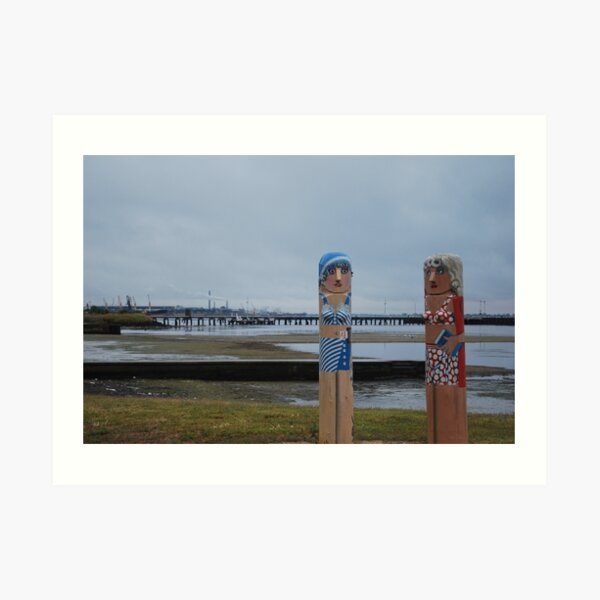 Bollards at Geelong Art Print