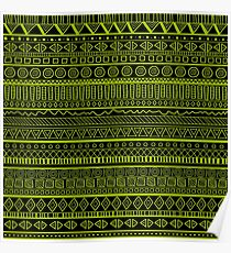 Tribal Pattern Green on Black Poster