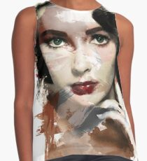Paint-Stroked Portrait of Classic Film Actress, Elizabeth Taylor Contrast Tank