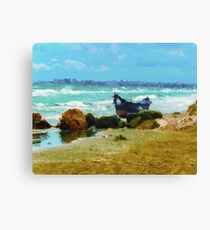 Old boat on the Black Sea Canvas Print