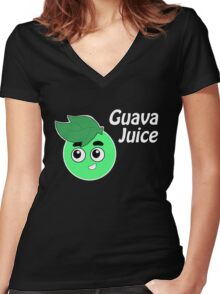 Seasonals Youtuber Fanart Guava Juice Women's Fitted V-Neck T-Shirt