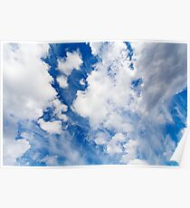 High sky with clouds, cloudscape Poster