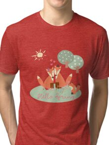 Little Foxes- Hello Spring Tri-blend T-Shirt