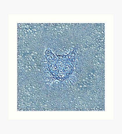 Maritime droplets cat Art Print