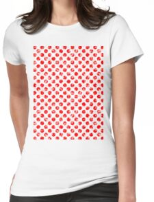 Polka Dot Red and Pink Blotchy Pattern Womens Fitted T-Shirt