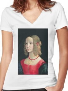 Domenico Ghirlandaio - Portrait Of A Girl Women's Fitted V-Neck T-Shirt