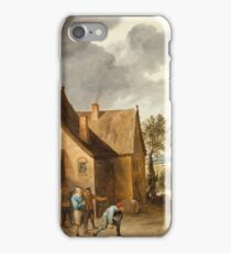 David Teniers The Younger - Landscape With Peasants Playing Bowls Outside An Inn iPhone Case/Skin