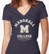 Indiana Jones - Marshall College Archaeology Department Distressed Women's Fitted V-Neck T-Shirt