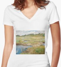 Childe Hassam - The Concord Meadow, Concord, Massachusetts Women's Fitted V-Neck T-Shirt
