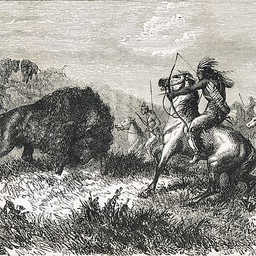 Indians hunting Buffalo in the 19th century by artfromthepast