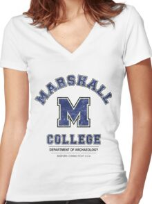 Indiana Jones - Marshall College Archaeology Department Distressed Variant  Women's Fitted V-Neck T-Shirt