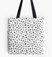 Simple memphis style black pattern. Seamless abstract background. Tote Bag