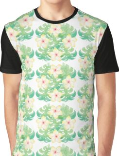 Tropical Watercolour Jungle Palm Leaves Pattern Graphic T-Shirt
