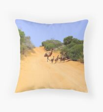 Emus on the track Throw Pillow