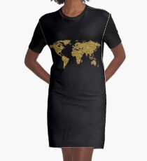Map of the world | Gold foil | Globetrotter Graphic T-Shirt Dress