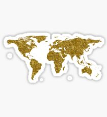 Map of the world | Gold | Globetrotter Sticker