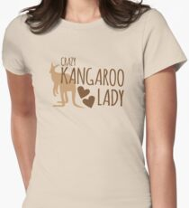 Crazy Kangaroo lady Womens Fitted T-Shirt